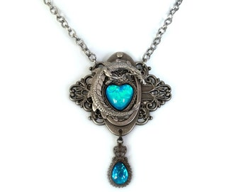 Large Heart of the Dragon Caribbean Blue Opal Edwardian  Filigree Necklace