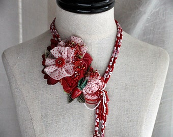 GALA Red and White Mixed Media Textile Statement Necklace