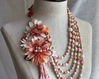 CORA Coral White Mixed Media Beaded Statement Necklace
