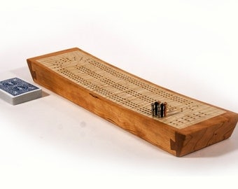 Cribbage Board - Continuous track, 3 player, swooped profile with peg and card storage.