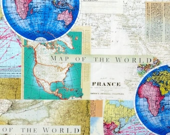 Etsy your place to buy and sell all things handmade map fabric world map travel fabric 100 cotton for quilting and general sewing projects gumiabroncs Gallery