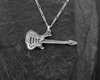 Sterling Silver Electric Guitar Pendant on a Sterling Silver Chain.