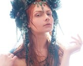 Teal, Blue & Green 'Queen of the Sea' Mermaid Couture Sparkle Headdress