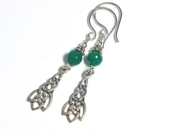 Green Agate Celtic Earrings, Sterling Silver, Green Stone, St. Patricks Day, Irish