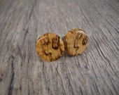 Spalted Maple Wood Stud / Post Earrings - Hypoallergenic / Surgical Steel / Natural / Fake Plugs