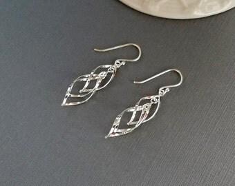 Tiered Earrings, Silver Dangle Earrings, Geometric Earrings, Sterling Silver Earrings, Silver Earrings, Lightweight Earrings, Drop Earrings