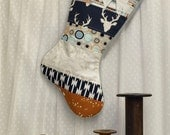 Christmas Stocking - Woodland Quilted, Modern, Rustic Quilted Stocking, Woodland, Holiday Stocking, Teepees, Deer, Buck