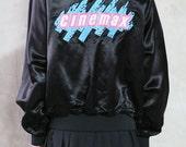 bomber jacket, 80s vintage black satin Cinemax embroidered snap jacket, teal pink, logo, size medium m
