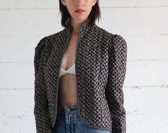 Gunne Sax Jacket, 70s black quilted calico floral polka dot puffy  sleeve bolero jacket, renaissance bohemian boho hippie womens medium m