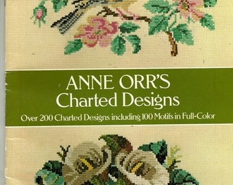 ANNE ORR Orr Charted Designs for Cross Stitch Book 1978, 200 Patterns