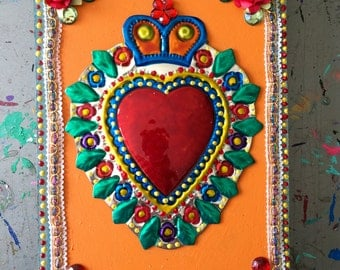 Large colorful Mexican tin sacred heart on vintage wood plaque / Mexican folk art / primary colors / affordable Xmas gift/ orange bright
