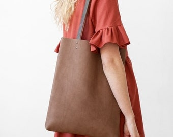 Clearance SALE Clay Brown Leather Tote bag