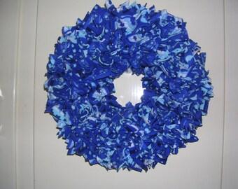 "Blue and whtie felt OOAK Fabric wreath 10"""