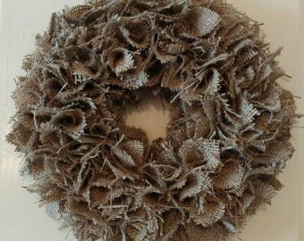 Burlap wreath, country, rustic fall wreath 10""