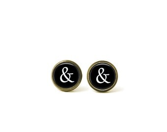 Ampersand Font Typography Glass Dome Stud Earrings 388E
