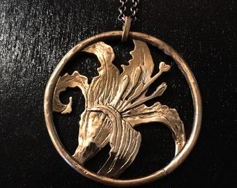 Bronze daylily flower  pendant