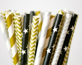 New Years Eve Paper Straws, Champagne Gold Silver Black, Anniversary decorations, mason jar buffet table, gold wedding decor