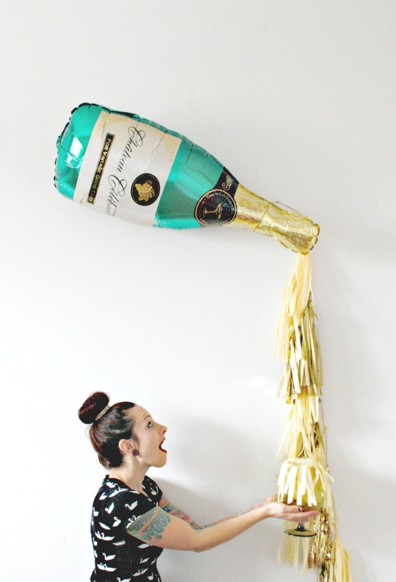 New Years Eve Champagne Bottle Tassel Balloon, Bachelorette Party Decor, Photo Booth Prop, Gold and Champagne Backdrop, Pop Fizz Clink