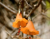 Lord Leighton Orange Hibiscus Earrings with Cascading Swarovski Crystals