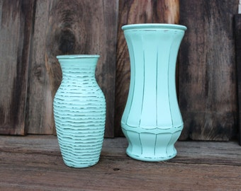 Two Vases Mint Green Shabby Chic Distressed / Wedding Decor / Table Decor / Baby Shower / Centerpieces