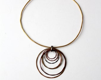vintage 70s mixed metal collar necklace with pendant