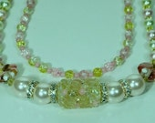 Pink and Yellow two Strand Crystal Beaded Necklace
