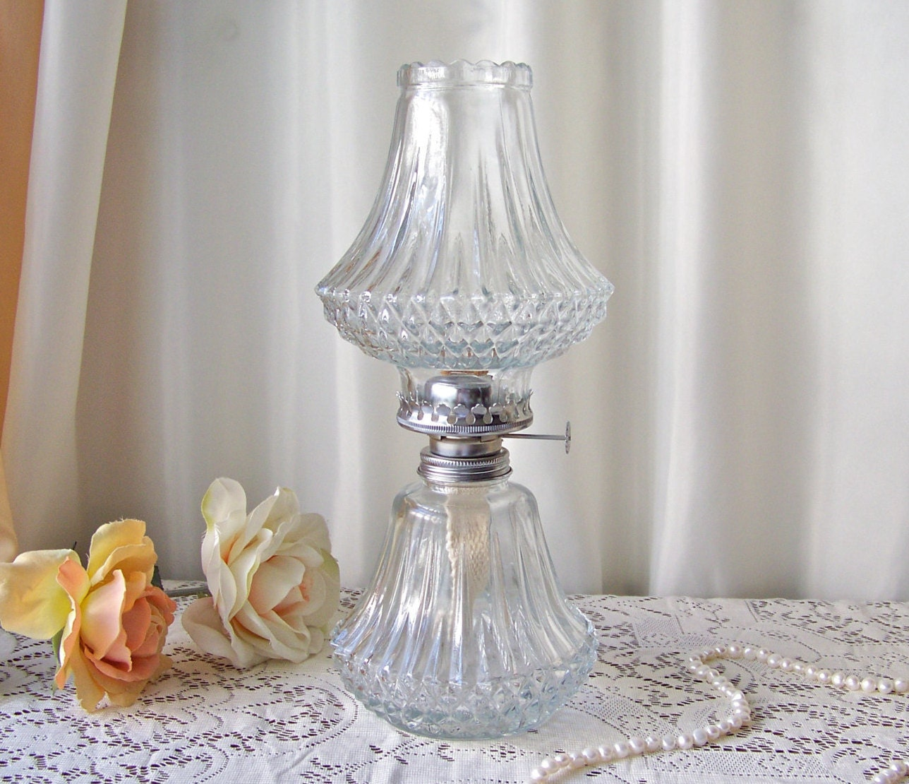 Vintage Oil Lamp Lamplight Farms Diamond Cut Oil Lamp