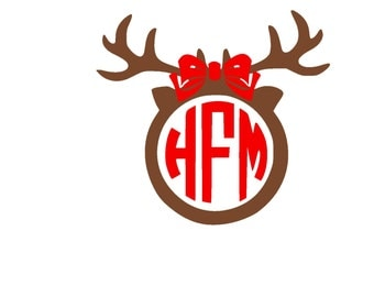 Christmas Reindeer Antlers with Bow Monogram SVG or Silhouette Instant Download