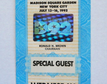 Bill Clinton — Democratic National Convention 1992 Special Guest Pass #43991