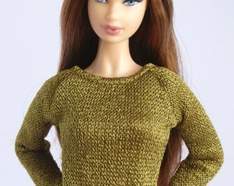 Moss green tight sweater for Poppy Parker / Model Muse, Made to Moce, New Silkstone or Pivotal Barbie