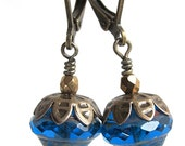 SALE !!! - muriel - earrings with deep blue glass beads