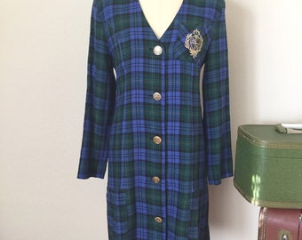 The Heather's 90's Vintage Prep Scool Plaid Insignia Dress, 1990s Office, Size Small Medium