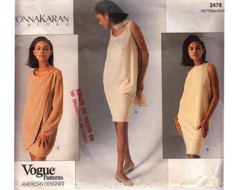 "Donna Karan Dress Sewing Pattern 90s UNCUT Easy for Beginners Size 6 8 10 Bust 30.5 31.5 32.5"" Vogue American Designer 2478 S"