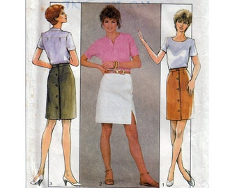 """Straight Skirt Sewing Pattern 80s Front Side or Back Buttons Waist 24 to 26.5"""" (61 to 67 cm) Style 3926 - S"""