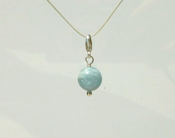 Aquamarine Bead Charm - Natural Round Bead Clip On Charm  - Aqua Bead in Recycled Silver for Bracelet or Necklace - Add On Charm