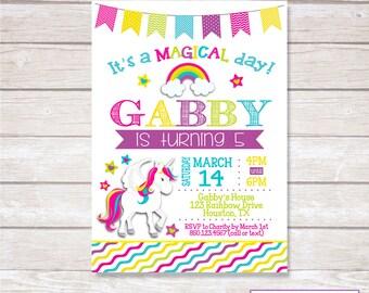 UNICORN Birthday Party Invitation Printable
