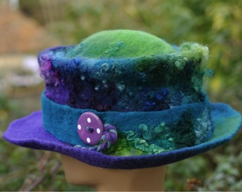Felt trilby - Magic Hat 'Peacock' - purple blue green - Hand felted hand-dyed wool & curls - Handmade Fiber ARtWeAR - Custom Made to Order
