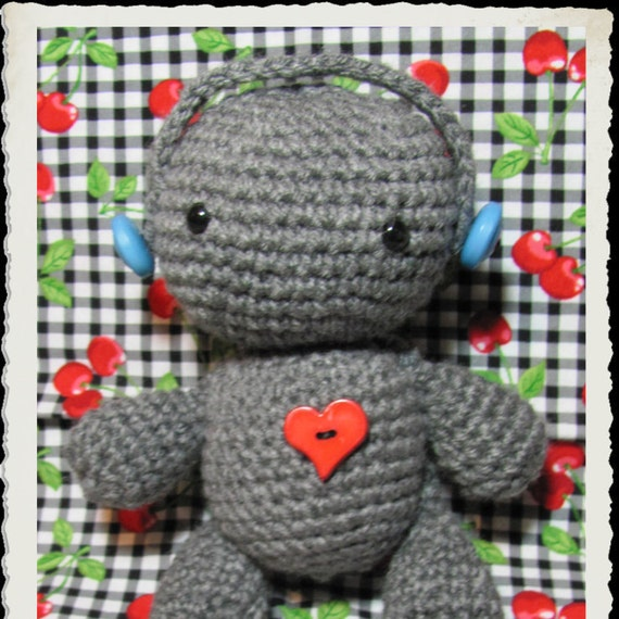 Amigurumi Headphones : Music Lover Crobot Amigurumi Robot Plush with Headphones by