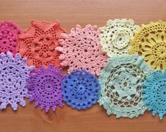 10 Rainbow Hand Dyed Crochet Doilies, 2 through 4 inch Craft Doilies, Small Size Crochet Doilies in Rainbow Colors