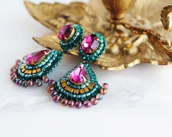 Bridal chandelier earrings | emerald bridal earrings | fuchsia teal bridal earrings | gold chandelier earrings | unique gift for her