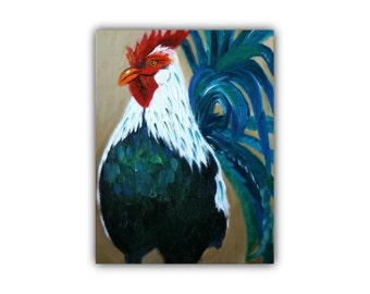 Oil Painting, PROUD ROOSTER, Original Oil Painting, canvas, farm, blue, rooster, signed by the artist