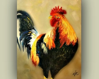 Original Oil MR.ROOSTER Original Oil Painting, farm, rooster, bird, signed by the artist,