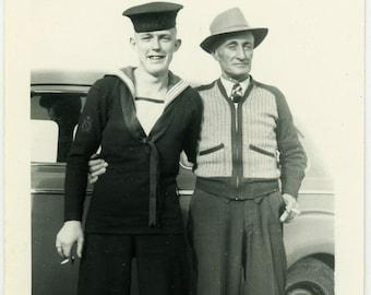 "Vintage Photo ""A Proud Father"" Military Navy Snapshot Photo Old Photo Black & White Photograph Found Photo Paper Ephemera Vernacular - 113"
