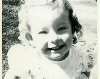 "Snapshot Photo ""Cheese Face"" Children Vintage Photo Antique Photo Old Black & White Photograph Found Photo Paper Ephemera Vernacular - 190"