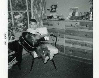 "Vintage Photo ""Little Rocker"" Snapshot Photo Old Antique Photo Black & White Photograph Found Photo Paper Ephemera Vernacular - 154"