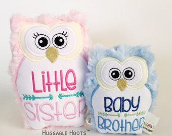 Stuffed Owl - Sibling Set - Little Sister - Baby Brother - Plush Owl - Stuffed Animal - Birth Announcement - New Baby - Owl - Kawaii