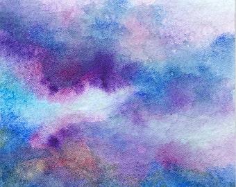 Original ACEO watercolor painting - Rumbling clouds