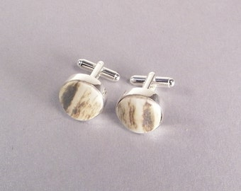 Elk Antler Cufflinks SHIPS IMMEDIATELY Handmade Antler Gifts Handmade Gifts for Dad Rustic Wedding Gifts for Hunters Birthday Gifts for Him