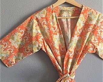 Kimono Robe. Bridesmaid Robes. Kimono. Bridal Robe. Dressing Gown. Modern Boho Coral. Knee Length. Small thru Plus Size 2XL.