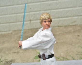 "OOAK 12"" Handpainted Mark Hamill Luke Skywalker Doll Star Wars Lightsaber Barbie Collectible Jedi Art"